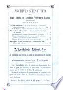 Archivio scientifico della Reale Società ed Accademia veterinaria italiana pubblicazione mensile