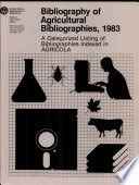 Bibliography of Agricultural Bibliographies Book