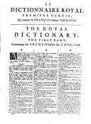 Dictionnaire royal francois-anglois (et anglois-francois) etc