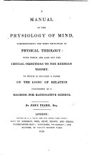 A Manual of the Physiology of Mind  Comprehending the First Principles of Physical Theology