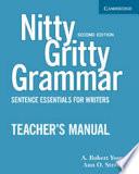 Nitty Gritty Grammar Teacher's Manual  : Sentence Essentials for Writers