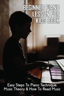 Beginner Piano Lesson For Kids Book Book