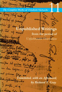 Unpublished Writings from the Period of Unfashionable Observations