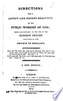 Directions for a Devout and Decent Behaviour in the Public Worship of God Book