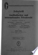 Zeitschrift für ausländisches und internationales Privatrecht