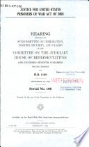 Justice for United States Prisoners of War Act of 2001 Book