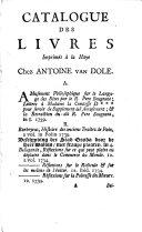 Catalogue des livres imprimés à la Haye Chez Antoine van Dole