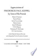 Appreciations of Frederick Paul Keppel