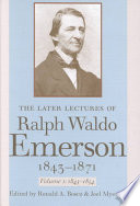 The Later Lectures Of Ralph Waldo Emerson