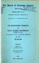 An Economic Survey of Kala Gaddi Thamman  Chak 73 G  B    a Village in the Lyallpur District of the Punjab Book