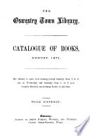 Catalogue of Books, August 1871