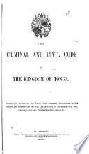 Criminal and Civil Code of the Kingdom of Tonga