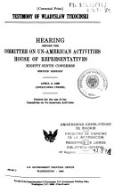 Hearings Before The Committee On Un American Activities Eighty Ninth Congress Second Session 1966