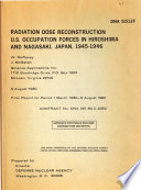 Radiation Dose Reconstruction U S  Occupation Forces in Hiroshima and Nagasaki  Japan  1945 1946 Book PDF