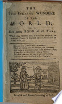 The Five Strange Wonders of the World  Or a Merry New Book of All Fives