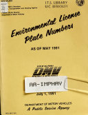 Environmental License Plate Numbers as of May 1991