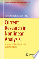 Current Research in Nonlinear Analysis Book