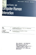 ACM Transactions on Computer human Interaction