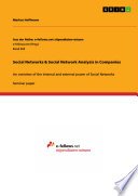 Social Networks & Social Network Analysis in Companies