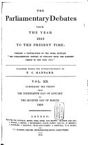 The Parliamentary Debates from the Year 1803 to the Present Time