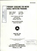 Supervisory Guidelines For Motor Vehicle Inspection Programs Final Report