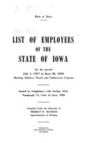 List of Employees of the State of Iowa for the Period     Book