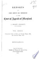 Reports of Cases Argued and Determined in the Court of Appeals of Maryland Book