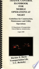 Traffic Control Handbook for Mobile Operations at Night Book PDF