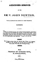 An Abridged Memoir of the Rev. John Newton, etc