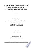Die Aussenhandelspolitik Grossbritanniens in der Zeit von 1931 bis 1933
