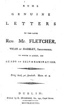 Some Genuine Letters of the Late Rev. Mr. Fletcher