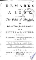 Remarks Upon a Book  Intituled  The Fable of the Bees Book