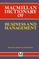 Macmillan Dictionary of Business and Management Pdf/ePub eBook
