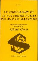Le Formalisme et le futurisme russes devant le marxisme