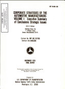 Corporate Strategies of Automotive Manufacturers  Volume I  Executive Summary of Conclusions   Strategic Issues  Final Report