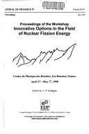 Proceedings Of The Workshop Innovative Options In The Field Of Nuclear Fission Energy Book PDF