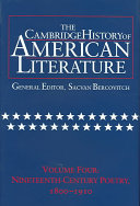The Cambridge History of American Literature  Volume 4  Nineteenth Century Poetry 1800 1910