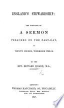 England's Stewardship: the substance of a sermon [on Luke xvi. 2].
