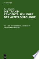 Die Transzendentalienlehre der alten Ontologie: Die Transzendentalienlehre im Corpus Aristotelicum