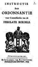 Instructie ende ordonnantie voor Commissarisen van de desolate boedels