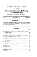 Monthly Bulletin of the Canadian Institute of Mining and Metallurgy