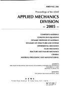 Proceedings of the ASME Applied Mechanics Division