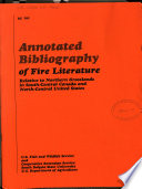 Annotated Bibliography of Fire Literature Relative to Northern Grasslands in South central Canada and North central United States Book