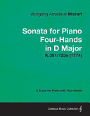 Sonata for Piano Four Hands in D Major   A Score for Piano with Four Hands K 381 123a  1774