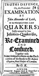 Truths Defence, Or, The Pretended Examination by John Alexander of Leith