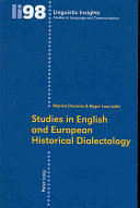 Studies in English and European Historical Dialectology