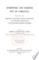 Scripture and Science Not at Variance Book