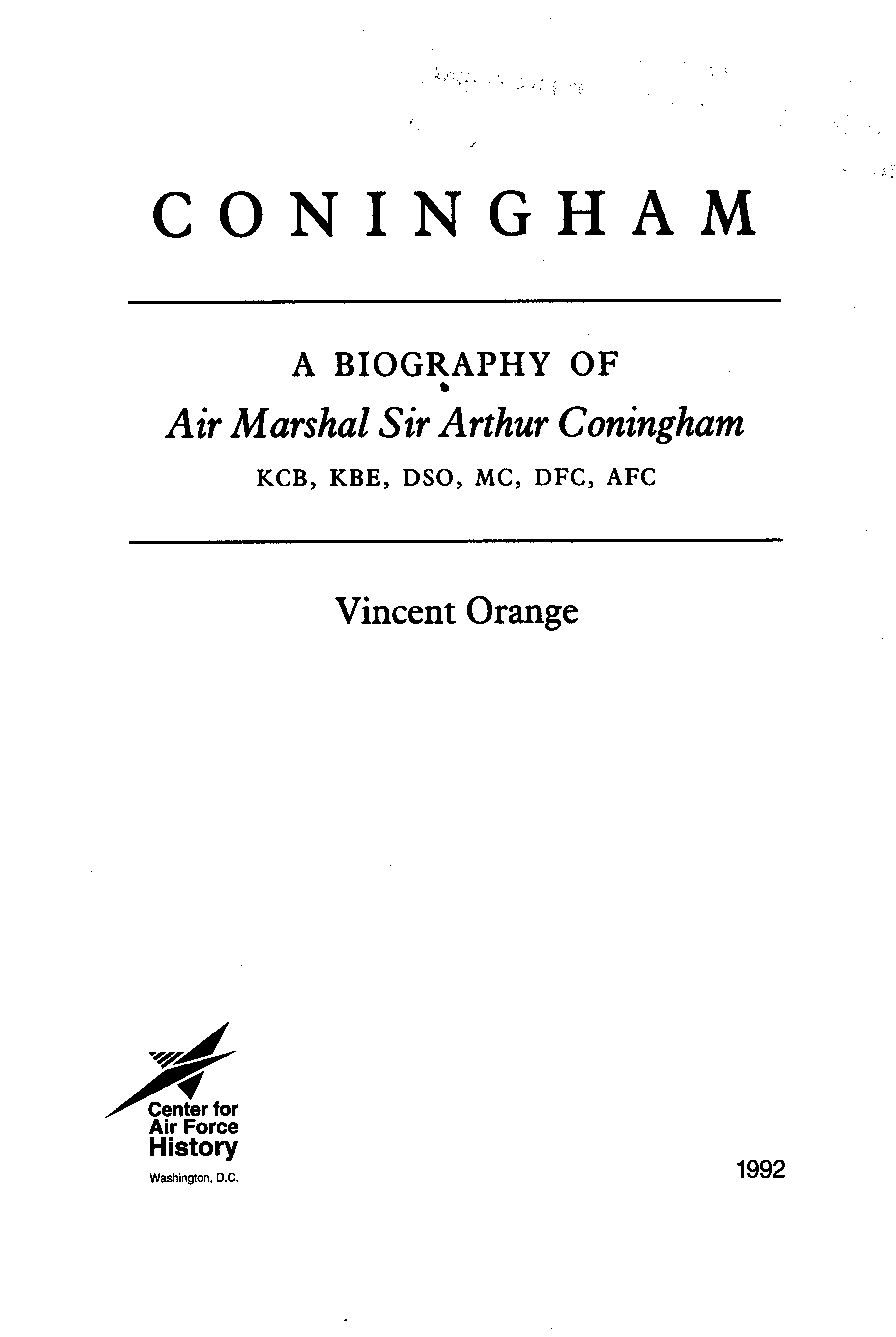 Coningham   a biography of Air Marshal Sir Arthur