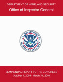 Semiannual report to the Congress: October 1st 2003 - March 31st 2004