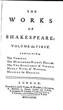 The Works of Shakespeare: in Eight Volumes